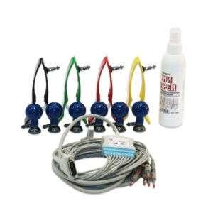 Комплект принадлежностей для регистрации ЭКГ в 12 отведениях: кабель пациента, электроды для конечностей и грудные, проводящая среда